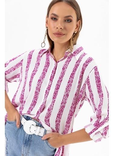 Emjey Çizgili Uzun Gömlek Pembe